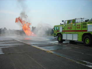 Fire training exercise at the Mid Ohio Valley Airport in Parkersburg